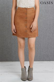 Tan Oasis Suedette Button Through Skirt