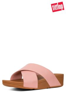FitFlop™ Dusky Pink Leather Lulu™ Cross Slide Sandal