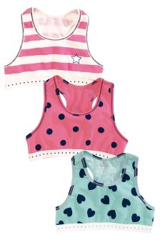 Navy/Pink Bright Crop Tops Three Pack (Older Girls)