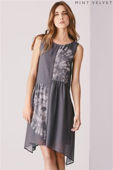Grey Mint Velvet Neema Print Dress