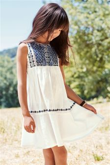 White Embroidered Dress (3-16yrs)