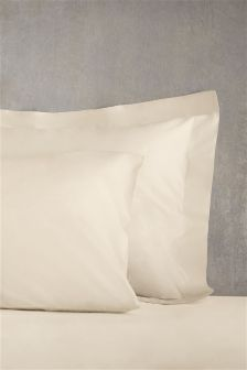 Set Of 2 Cotton Rich Plain Dye Pillowcases