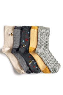 Grey Pattern Bee Stripe Socks Five Pack