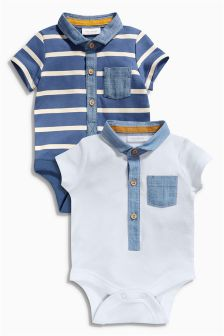 Two Pack Navy/White Polo Bodysuits (0mths-2yrs)