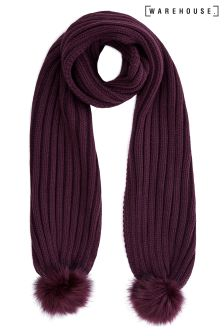Warehouse Berry Faux Fur Pom Scarf