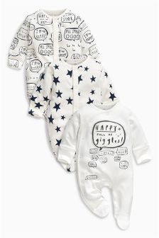 Monochrome Slogan Sleepsuits Three Pack (0mths-2yrs)