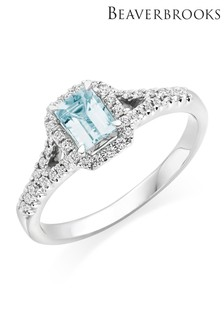 Beaverbrooks 18ct White Gold Diamond And Aquamarine Ring
