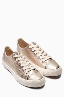 Metallic Snake Effect Baseball Trainers