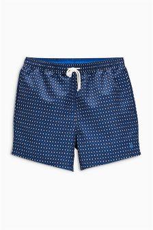 Navy Geo Print Swim Shorts