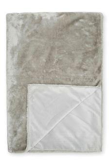 Silver Glossy Faux Fur Throw