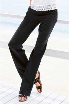 Parallel Leg Linen Blend Trousers