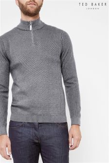 Ted Baker Grey Textured Panel Half Zip Jumper