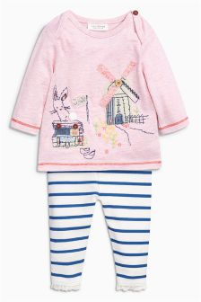 Pink Embroidered Detail Top and Legging Set (0mths-2yrs)