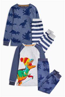 Dino Stripe Pyjamas Two Pack (3-14yrs)