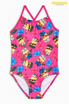 Pink All Over Print Minions Swimsuit (3-12yrs)