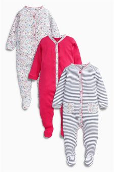 Pink Floral Sleepsuits Three Pack (0mths-2yrs)