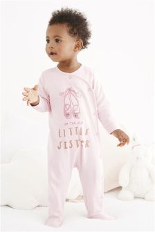 Pink Little Sister Ballet Sleepsuit (0-18mths)