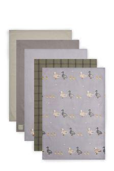 Set Of 5 Duck Print Tea Towels
