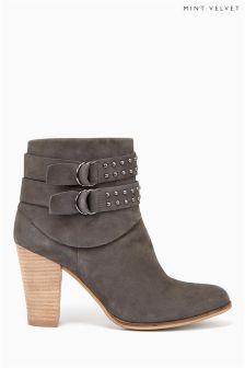 Grey Mint Velvet Nubuck Stud Double Strap Ankle Boot
