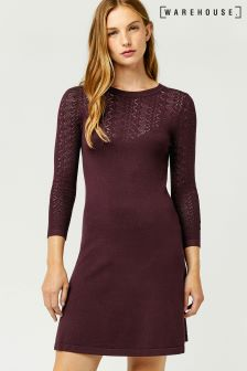 Warehouse Berry Pretty Stitch Yoke Dress