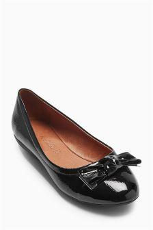 Patent Comfort Bow Ballerinas