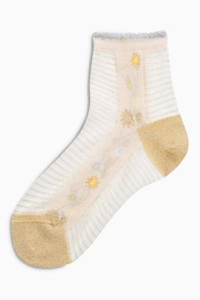 Floral Stripe Mesh Ankle Socks