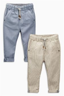 Blue/Neutral Linen Blend Two Pack Trousers (3mths-6yrs)