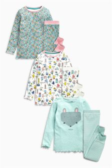 Green Snuggle FIt Mouse Pyjamas Three Pack (12mths-8yrs)