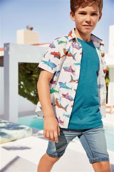 Short Sleeve Shark Print Shirt (3-16yrs)