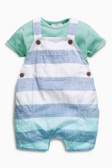 White & Blue Bold Stripe Dungarees With Bodysuit (0mths-2yrs)
