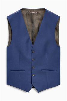 Signature Bright Blue Slim Fit Suit: Waistcoat