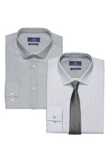 Grey Striped And Checked Shirts And Tie Set