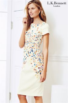 Cream LK Bennett Floral Placement Dress