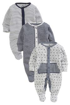 Fabric Sleepsuits Three Pack (0mths-2yrs)