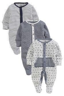 Three Pack Navy Fabric Sleepsuits (0mths-2yrs)