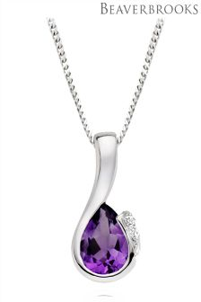 Beaverbrooks 9ct White Gold Diamond Amethyst Pendant