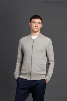 French Connection Light Grey Wool Bomber