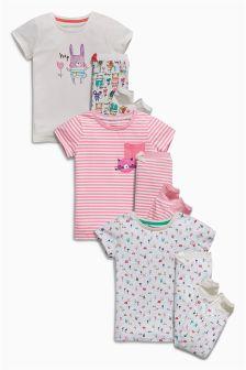 Multi Rabbit And Cat Snuggle Pyjamas Three Pack (9mths-8yrs)