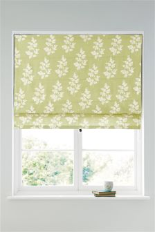 Green Country Sprig Print Roman Blind