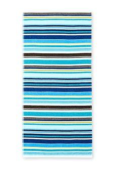 Teal Striped Woven Beach Towel