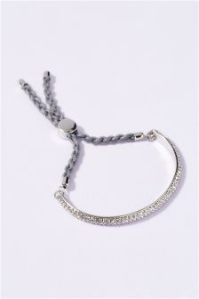 Silver Coloured Pave Pull Cord Bracelet