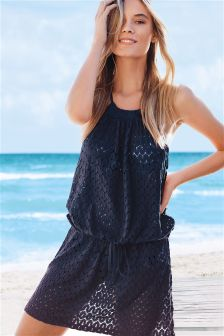 Navy Textured Short Dress