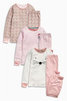 Pink Snuggle Fit Ditsy Pyjamas Three Pack (12mths-8yrs)