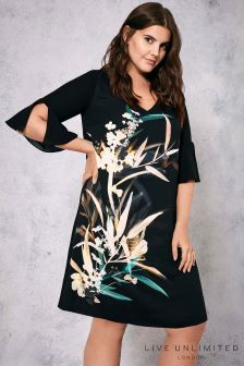 Live Unlimited Black Bamboo Floral Dress