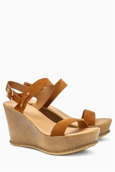 Leather Two Band Wedge Sandals