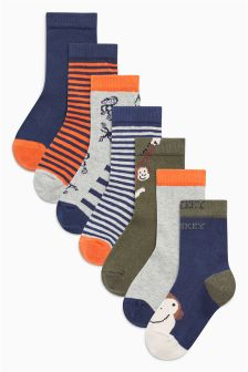 Monkey Socks Seven Pack (Younger Boys)