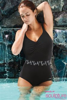 Black Speedo® Sculpture Exclusive Crystalshine Swimsuit
