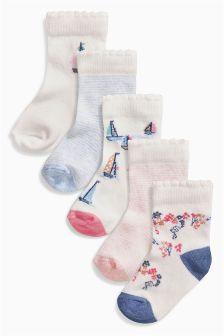 Pink/Blue Socks Five Pack (Younger Girls)
