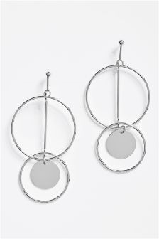 Silver Tone Circle Earrings