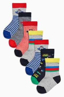 Bright Transport Socks Seven Pack (Younger Boys)